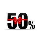 Numéro 50 pour cent pour la remise et la vente avec le vecteur rouge de ruban Image stock