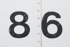 Numéro 86 quatre-vingts sixwhite vieille texture de fond en métal Photographie stock