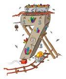 Numéro sept comme partie de vieux et oublié Crystal Mine avec des chariots de mine illustration de vecteur