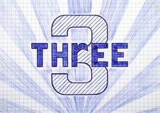 Numéro trois sur la feuille de papier à carreaux Photos libres de droits