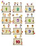 Numéro un à dix avec des enfants à l'arrière-plan illustration libre de droits