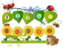 Numéro un à dix sur des feuilles et des fleurs illustration de vecteur