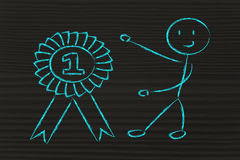 Numéro un, caractère drôle de gagnant ayant le succès Photos libres de droits