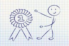 Numéro un, caractère drôle de gagnant ayant le succès Photo stock