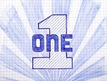 Numéro un sur la feuille de papier à carreaux Image libre de droits