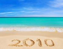 Numéros 2010 sur la plage Images libres de droits