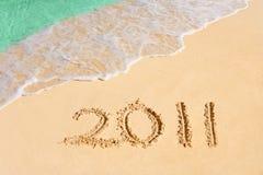 Numéros 2011 sur la plage Images libres de droits