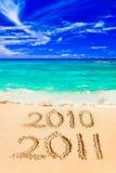 Numéros 2011 sur la plage Photo libre de droits