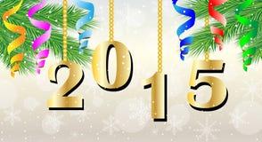 Numéros 2015 ans et branche d'arbre de Noël illustration libre de droits
