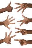 Numéros d'exposition de mains Photo libre de droits