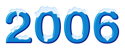 Numéros dans une neige, sur le blanc Images stock