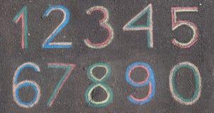 Numéros dessinés sur l'asphalte avec la craie photos libres de droits