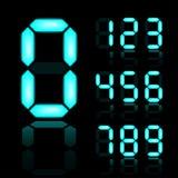 Numéros digitaux rougeoyants de bleu Photographie stock