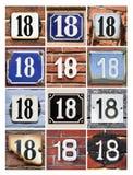 Numéros dix-huit photographie stock