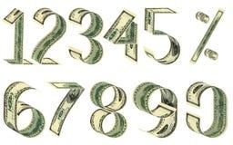 Numéros et pour cent des dollars Images libres de droits