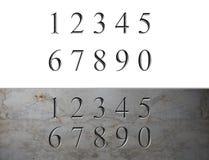 Numéros gravés par marbre Photos libres de droits