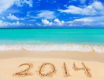 Numéros 2014 sur la plage Photos libres de droits