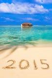 Numéros 2015 sur la plage Photo libre de droits