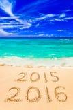 Numéros 2016 sur la plage Photos libres de droits