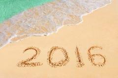 Numéros 2016 sur la plage Photo libre de droits