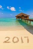 Numéros 2017 sur la plage Photos libres de droits