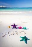 Numéros 2014 sur la plage sablonneuse blanche Images libres de droits