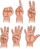 Numéros sur les doigts Images libres de droits