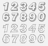 Numéros tirés par la main Image libre de droits