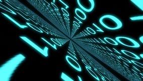 Numérote le monde numérique animation binaire de graphique de cyberespace de code de données d'ordinateur illustration stock