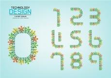 Numérotez l'ensemble de logo de nombres ou d'icône, concept de fleur Photos stock