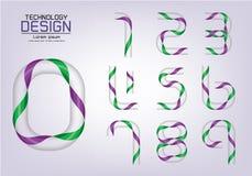 Numérotez l'ensemble de logo de nombres ou d'icône, concept de ruban Images stock