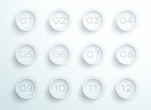 Numérotez les anneaux 3d 1 à le vecteur 12 blancs de gros point noir Image libre de droits