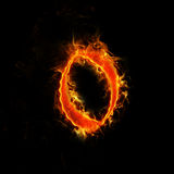 Number 0 in flames. Old font, number 0 in flames Stock Image