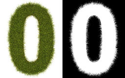 Number 0 of the grass with alpha channel Stock Photography
