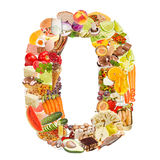 Number 0 made of food Stock Image