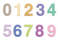 Number from 0 to 9 in paper over white background. Number 0 to 9 of color paper Stock Photography