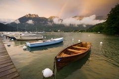 Number 04. Boats on Lake Annecy, France Stock Photo