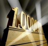 Number 1.000.000. Number one million in golden letters on a golden pedestal royalty free illustration