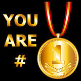 Number 1. You are number one design with a gold medal and ribbon, perfect for a card or the likes Stock Photo