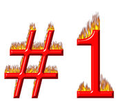 Number 1 on fire Royalty Free Stock Image