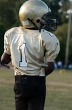 Number 1 Football Player. Young football player wears the number 1 on his jersey stock images