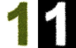 Number 1 of the grass with alpha channel Stock Photography