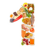 Number 1 made of food. Isolated on white background Stock Image