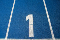Number 1 on a running track Royalty Free Stock Photo