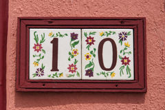Number 10 painted tiles Royalty Free Stock Images