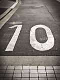 Number 10 on a road Stock Image