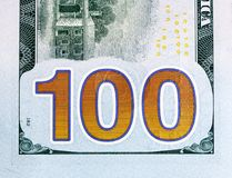 Free Number 100. Hundred Dollars Bill Fragment Closw-up, New Edition. Stock Photo - 116552390