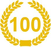 Number 100 Laurel Wreath Stock Photography