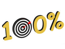 The number 100 percent with target. On white background stock illustration