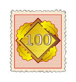 Number 100 stamp red Royalty Free Stock Image